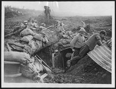 "WW1. ""Building a new dug-out as they advance."" -National Library of Scotland, D…"