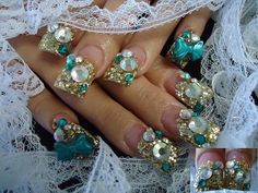 Gold & Teal Blinged Out Trendy Nails - Nail Art Gallery