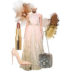 Nude Luxe: Featuring this stunning Anita Dongre gown is the perfect Autumn/winter special occasion outfit from her new collection, now available at strandofsilk.com! Style this outfit with nude heals, metallic make-up in neutral shades and a statement clutch! #strandofsilk #gown #anitadongre #style #fashion #polyvore #collage #accessories #nude #detail #luxury #autumn #winter