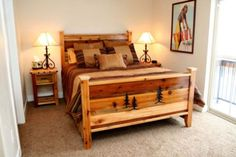 Rustic bed frame plans – A quality bed frame is essential for a good night's sleep. Rustic Bedroom Furniture, Rustic Bedding, Cabin Furniture, Wood Bedroom, Design Furniture, Furniture Decor, Bedroom Ideas, Bedroom Rustic, Western Furniture