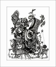 HäkelBild V von Etelka Kovacs-Koller - mad for art auf DaWanda.com Illustration, Artworks, Mad, Etsy, Drawing S, Illustrations, Art Pieces