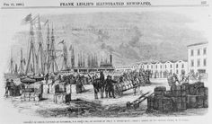 Drawing of a shipment of cotton at Savannah, Georgia, headed for New York, on the account of the U.S. government. Illustration from the February 25, 1865, edition of Frank Leslie's Illustrated Newspaper. Courtesy the Library of Congress Prints and Photographs Division, LC-USZ62-116353.