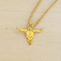 Collier pendentif buffle origami Argent 925 doré