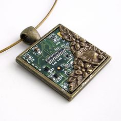 Circuit Board Necklace with Bronze - Industrial Techno Geek Steampunk Handmade Jewelry. $48.00, via Etsy.