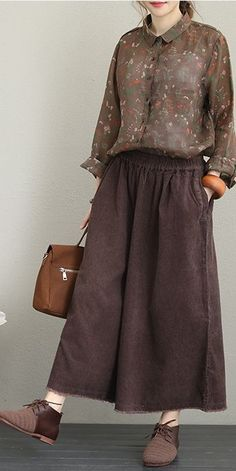 Name: Loose Thicken Corduroy Wide Leg Pants Women Casual Trousers Fabric: Fabric has no stretchSeason: Spring,Fall,WinterType: PantsColor: Coffee,KhakiPants Length: Ankle LengthStyle: 60 Fashion, Fashion 2020, Hijab Fashion, Fashion Outfits, Womens Fashion, Pants For Women, Jackets For Women, Clothes For Women, Trousers Women