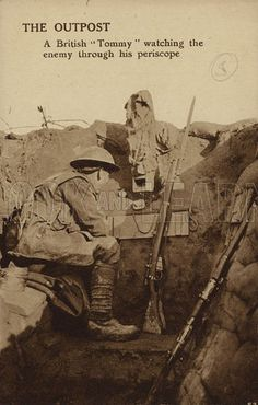 WW1 Postcard. British soldier watching the enemy through a periscope. © Look and Learn/Elgar Collection