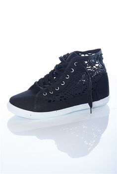 f0d370f3176088 Crochet Lace Sided Sneakers - Black from Casual   Day at Lucky 21 Lucky 21