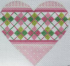 "Argyle Mini Heart By Kate Dickerson Size: 4"" x 3.5"" Mesh Count: 18"