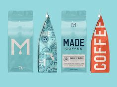 Made Coffee Branding & Packaging Design by Break Maiden – Grits + Grids Food Packaging Design, Coffee Packaging, Packaging Design Inspiration, Brand Packaging, Branding Design, Product Packaging Design, Food Branding, Chocolate Packaging, Bottle Packaging