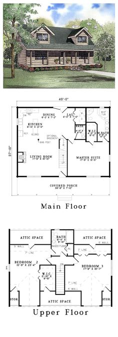 Country Log House Plan 61151