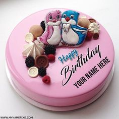 Cute Love Birds Birthday Wishes Cake With Name.Write Name on Pink Cake For Lover.Romantic Name Birthday Cake.Print Lover Name on Designer Love Couple Cake Pics Birthday Cake Write Name, Heart Birthday Cake, Birthday Cake Writing, Happy Birthday Wishes Cake, White Birthday Cakes, Dad Birthday Cakes, Happy Birthday Cake Images, Birthday Wishes And Images, Happy Birthday Love