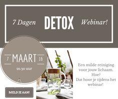 De 7 daagse detox is een vitaliteitsprogramma dat je helpt naar de top van je energie te komen, je lichaam te reinigen en het de rust te geven dat het verdiend! Maandag 7 maart 2016 organiseren Raphaëlle en ik een webinar over ons vitaliteitsprogramma. Karin Zwart hebben wij uitgenodigd om dit webinar te geven.  Zij gaat jou precies uitleggen:  - Waar een detox goed voor is. - Hoe je deze 7 dagen je doel bereikt.  - Begeleiding tijdens en na de detox.  Wil je erbij zijn, let me now!