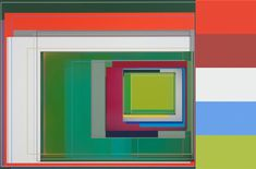 """Artist Patrick Wilson, who lives and works in Los Angeles, explores mid-century modernism in his boxy abstract works. We're inspired by his color blocking combinations, as are the Hirschhorn and the Los Angeles County Museum of Art, which both own his work. Wilson is a self-described """"slow motion action painter,"""" who relies on intuition in the creative process."""