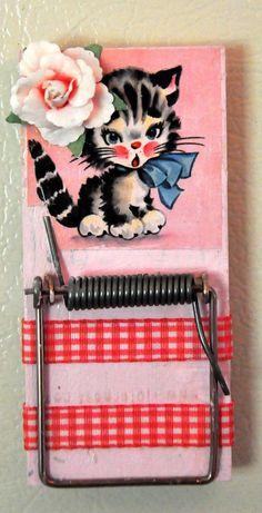 Cute Retro Image Mousetrap Refrigerator Magnet  by CutesyRetro, $5.50