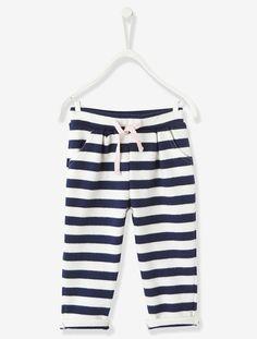 Pantalon bébé fille en molleton Blanc cassé raye+Rose vif - vertbaudet enfant