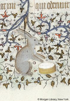 Book of Hours, MS fol. - Images from Medieval and Renaissance Manuscripts - The Morgan Library & Museum Medieval Life, Medieval Art, Medieval Manuscript, Illuminated Manuscript, Rabbit Art, Bunny Art, Book Of Hours, Wildlife Art, Mail Art