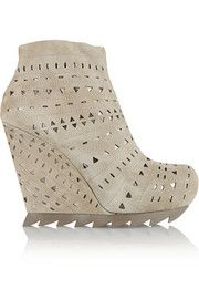Camilla Skovgaard Cutout suede wedge ankle boots