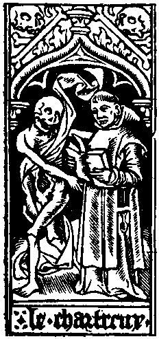 Medieval depiction of death and a priest