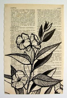 Jezze Prints: Botanicals | Printing on dictionary pages