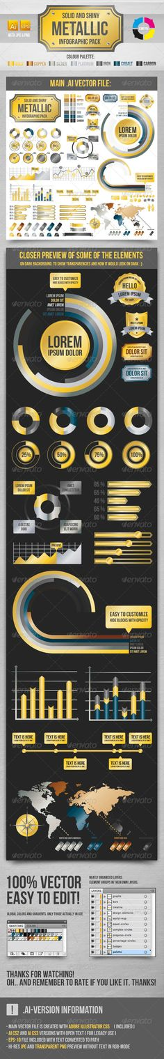 Metallic Infographic Elements  #GraphicRiver        Description 	 Layered vector, shiny metallic gradient style infographic elements. Charts, badges, graphs, timeline, design elements, world map etc etc.  Package content   Adobe Illustrator CS5 file  EPS-10 file with converted text  Adobe Illustrator CS3 file  Adobe Illustrator CS2 file  Hi-res JPG preview file  Hi-res transparent PNG preview file  Readme.txt  Fonts 	 Font used is free for commercial use and download link can be found inside…