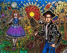 "Artist Vinny Michaud painting on glass of ""Eddie Borgo & Beitressa Mandelbaum"". Religious, Creature, Alien, Occult, Portraits & space Art by Vincent Michaud.  http://www.vincentmichaud.vision/painting/"