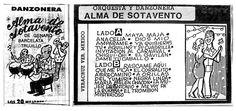 """Fundada por Víctor Manuel Sánchez, la orquesta Alma de Sotavento (originalmente llamada """"Alma de Veracruz"""") fue una de las danzoneras veracruzanas más reconocidas de la segunda mitad del siglo XX. En la imagen, la portada y contraportada de una grabación del grupo; editada en forma casera por el ilustrador Mezquita."""