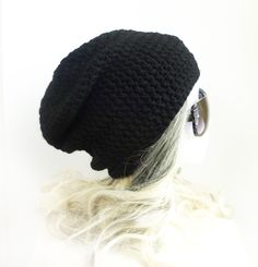 Black Beanie Slouchy Beanie Crochet Slouch Hat Pure