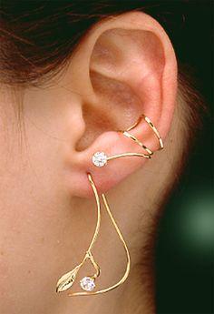 Vine earrings leaf and 4mm cz stone vermeil cubic by markehrmann
