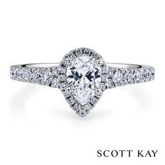 Marquise cut white gold diamond engagement ring by Scott Kay