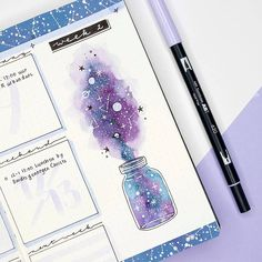 12 Galaxy and Space Themed Bullet Journal Spread - - Plu - 12 Galaxy and Space Themed Bullet Journal Spread - Looking for Inspiration on your latest Bullet Journal theme? Here are 12 Out of this world galaxy and space themed bullet journal spreads Bullet Journal Aesthetic, Bullet Journal Notebook, Bullet Journal Ideas Pages, Bullet Journal Spread, Bullet Journal Inspo, Bullet Journal Layout, Bullet Journal Numbers, Dotted Bullet Journal, Bullet Journal Decoration