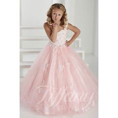 Pink/Aqua Flower Girl Dress Princess Kids Pageant Party Dance Birthday Ball Gown