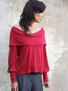 Red Womens Pullover Top/Shirt-2-Wege Top/Shirt/lange Ärmel--FLOW WINTER TOP - Bestellung-Damen Pullover-Plus Größe Top-Red Bluse gemacht