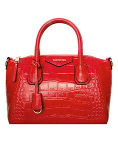 Red Croc-Embossed Leather Satchel by Cannci #zulily #zulilyfinds