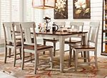 The Holden dining chair creates the ideal atmosphere for everything from weeknight dinners to holiday feasts. This country casual chair's 2-tone finish combines a light dove gray back and legs with a warm oak veneer on the seat. Plus, slightly tapered legs offer a stylish finishing touch.