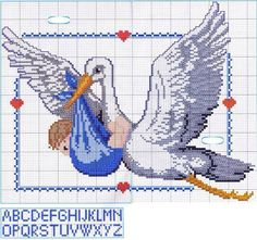 Cicogna Baby Cross Stitch Patterns, Cross Stitch Bird, Cross Stitch Charts, Craft Patterns, Baby Patterns, New Baby Gifts, Handmade Baby, Baby Items, New Baby Products