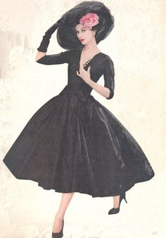 Dovima in a black evening gown, 1950s.