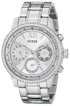 Amazon.com  GUESS Women s U0559L1 Sporty Silver-Tone Stainless Steel Watch  with Multi-function Dial and Pilot Buckle  Guess  Watches ba554169a49