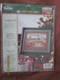 """Mary Engelbreit Counted Cross Stitch Kit """"Teacup Mouse"""" with Decorator Mat - NEW, UNOPENED by WhimseysByAnne, $25.00"""