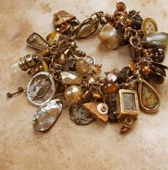 90 Charm Bracelet with Vintage Items, Medals, Artifacts, Pearls and Gemstones