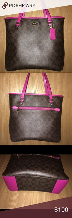 Coach Zip Top Tote Brown with magenta pink accents. Used a couple of times In pristine like brand new condition. No serial number not sure why; I got this bag straight from coach. Nevertheless I cannot find a serial number anywhere. Coach Bags Shoulder Bags