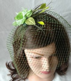 GREEN vintage birdcage veil by naturallyinspired on Etsy - themarriedapp.com hearted <3
