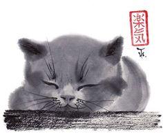 Sleepy Cat Print Sumie Japanese art Brush by AnimaAllegra on Etsy, $25.00
