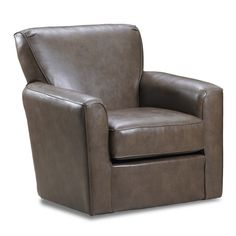 Darby Home Co Alice Swivel Barrel Chair with tight back cushion, flared arms, thin welt and a box seat cushion covered in a soft and durable faux leather cover.