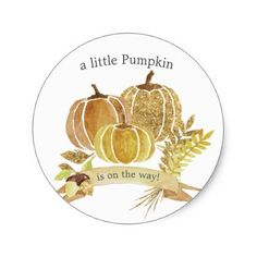10 gender reveal party food ideas for your family shower favors watercolor glitter pumpkin fall baby shower classic round sticker negle Images