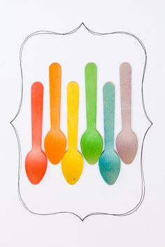 Wooden Ice Cream Spoons - Rainbow of Colors