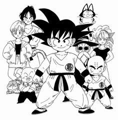 Goku, Bulma, Yamcha, Puar, Oolong, Launch, Turtle, and Krillin
