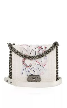 "Chanel Rare ""Chanel No 5"" White Graffiti Embroidered Lambskin Boy Bag by Madison Avenue Couture for Preorder on Moda Operandi"