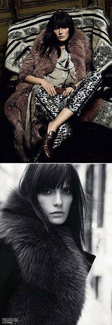 long bangs and fur...effortless cool