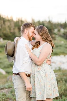 Posing ideas for couples | Mountain engagement session | Summer engagement photo inspiration | Snowy Range Engagements in Wyoming by Laramie based photographer, Megan Lee Photography