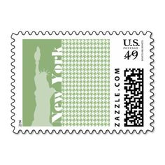 Laurel Green Houndstooth; New York City Postage